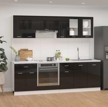 vidaXL Kjøkkenskapsett 8 deler høyglans svart sponplate