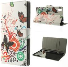 Moberg (Små Fjärilar) Sony Xperia T3 Läder Flip-Fodral
