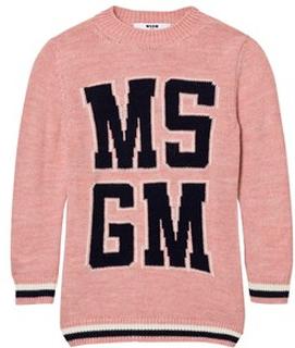 MSGM Logo Stickad Klänning Rosa 8 years