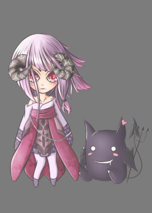 My OC of a Soul Linker from Ragnarok Online with her Deviruchi Pet.