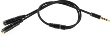 Male To Two Female 30cm Audio Splitter kabel - Sort