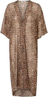 PIECES Semi-sheer Longline Kaftan Kvinna Brun