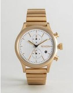 Nixon Station Chronograph Bracelet Watch In Gold - Gold