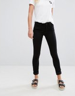 Monki mocki mid waist slim jeans with organic cotton in deep black - Black