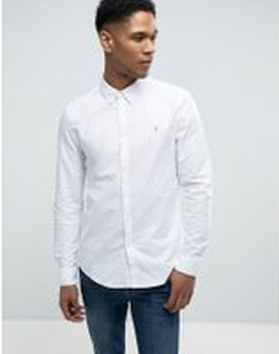 Farah Brewer - Vit oxfordskjorta med smal passform - Vit