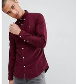 Farah - Sansfer - Vinröd oxfordskjorta med extra smal passform - Endast hos ASOS - Röd