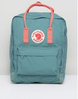 Fjallraven Classic Kanken Backpack in Green with Contrast Pink - Green/pink 664