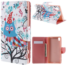 Moberg Sony Xperia Z5 Premium lær etui med stativ - Flower And Owl