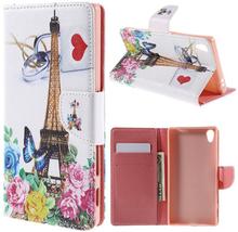 Moberg Sony Xperia Z5 Premium lær etui med stativ - Flowers In Paris