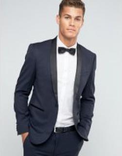 ASOS DESIGN skinny wool tuxedo suit jacket in navy - Navy