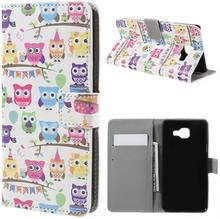 Moberg Lær etui med kortspor for Samsung Galaxy A5 SM-A510F (2016) - Multiple Cute Owls