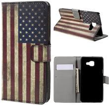 Moberg Lær etui med kortspor for Samsung Galaxy A5 SM-A510F (2016) - Vintage US Flag