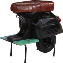 vidaXL Barstol moped svart äkta läder massivt återvunnet trä