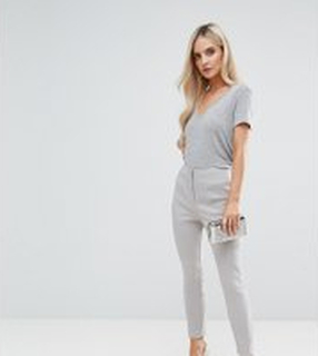 ASOS PETITE High Waist Trousers In Skinny Fit - Silver grey