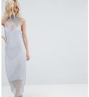 ASOS PETITE 2 in 1 Maxi Dress in Large Mesh - Grey