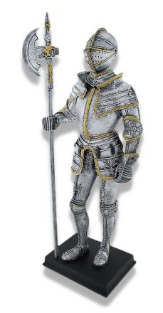 Medieval Knight Full rustning med Poleaxe-statuen
