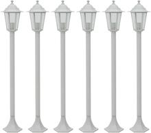 vidaXL Lyktstolpar för trädgård 6 st E27 110 cm aluminium vit