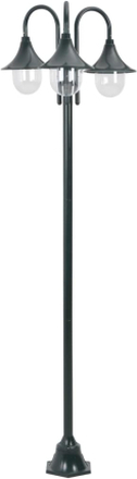 vidaXL Lyktstolpe för trädgård E27 220 cm aluminium 3 lyktor mörkgrön