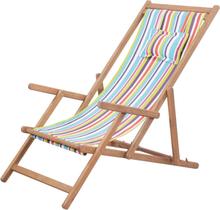 vidaXL Hopfällbar strandstol tyg och träram flerfärgad