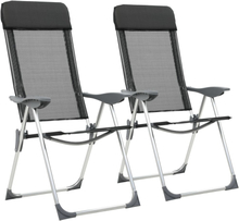 vidaXL foldbare campingstole 2 stk. aluminium sort