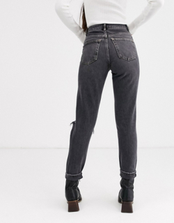 Topshop - Mom-jeans med flænger i washed black-Sort