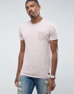 Brave Soul - Melerad t-shirt med ficka - Rosa