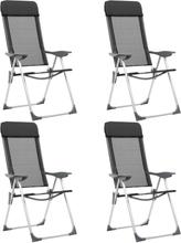 vidaXL foldbare campingstole 4 stk. aluminium sort