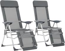 vidaXL sammenfoldelige campingstole med fodstøtte 2 stk. aluminium grå