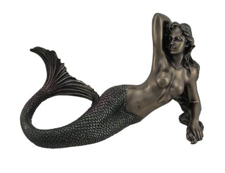 Bare Mermaid havet gudinnen med iriserende hale Statue 11 tommer