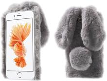 Fleksibelt deksel med kaninører og pels for iPhone 7 Plus / 8 Plus - Grå