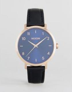 Nixon Arrow Black Leather Watch - Black