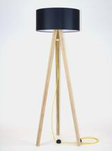 WANDA Eschenholz Stehlampe 45x140cm - Schwarz Lampenschirm / Gelb