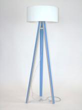 WANDA Stehlampe 45x140cm - Blau / Weiß Lampenschirm