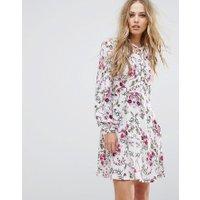 Vero Moda Tie Neck Floral Shift Dress - Multi