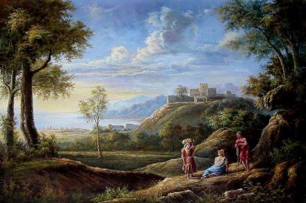 Landskap, håndmalte olje maleri på lerret, 90 x 60 cm