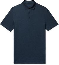 Mélange Silk And Cotton-blend Piqué Polo Shirt - Navy