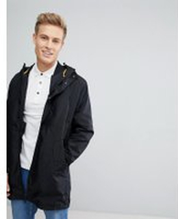 Jack & Jones Core Parka In Water Repellent Tech Fabric With Removable Bomber Jacket - Black
