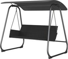 Lece loungemøbel hængesofa, 3 personers sort/grå.