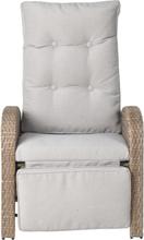 Jyrce loungemøbel havestol, sofastol med trinløs vipperyg og fodstøtte natur/beige.