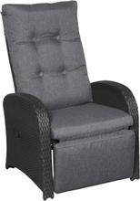 Jorl loungemøbel havestol, sofastol med trinløs vipperyg og fodstøtte sort/grå.