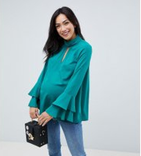 ASOS Maternity Cut Out Neck Flared Sleeve Blouse - Green