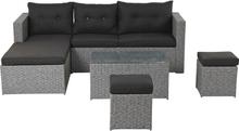Plessa loungemøbel sofasæt, inkl. hynder grå,sort.