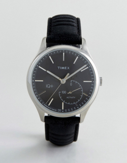Timex IQ Leather Hybrid Smart Watch In Black - Black