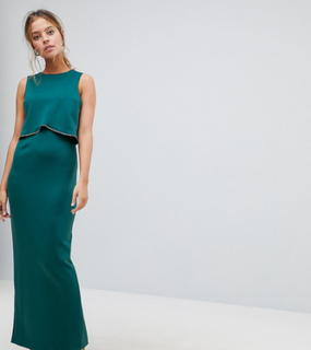 ASOS PETITE Crop Top Maxi with Embellished Trim - Green
