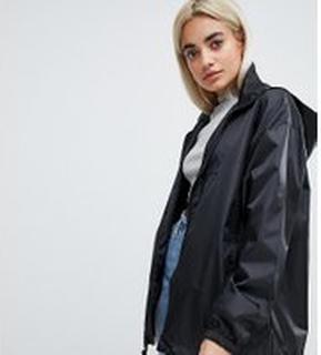 ASOS DESIGN Petite rain jacket with bum bag - Black