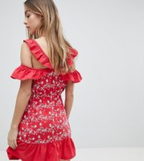 ASOS PETITE Ruffle Cold Shoulder Broderie Sundress - Red