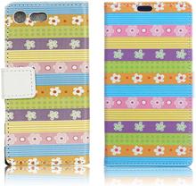 Sony Xperia Xz Premium Mønstertrykk Lær Flip Etui - Fargede Striper Blomster