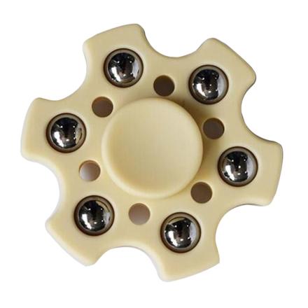 Small metal balls hexagon Fidget Spinner- Light Yellow