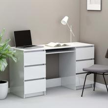 vidaXL Skrivebord høyglans hvit 140x50x77 cm sponplate