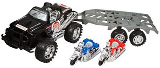 Legetøjs Firhjulstrækker - Med anhænger - og 2 motorcykler